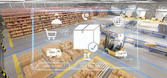 Free Logistic Delivery Service Application On A Warehouse Background Royalty Free Stock Image - 125579366