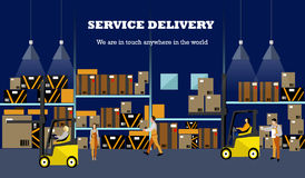 Logistic and delivery service concept banner. Warehouse interior poster. Vector illustration in flat style design Royalty Free Stock Images