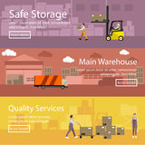 Logistic and delivery service concept banner. Warehouse interior. Vector illustration in flat style design Stock Image