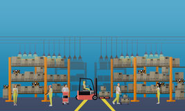Logistic and delivery service concept banner. Warehouse interior. Vector illustration in flat style design Royalty Free Stock Image