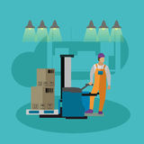 Logistic and delivery service concept banner. Warehouse workers. Royalty Free Stock Image