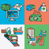 Logistic design concept flat icons. The best logistics computer coordinated 24h express worldwide service 4 flat icons composition abstract isolated vector Stock Photography