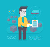 Logistic and Distribution. Businessman with a clipboard in hands controls, organizes, manages the process of distribution of goods and products. Concept of royalty free illustration