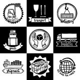 Logistic Emblems Set Stock Photos
