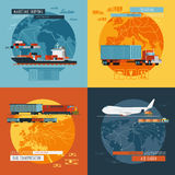 Logistic4 flat icons banner Royalty Free Stock Photo