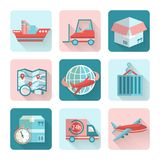 Logistic Flat Icons Stock Images