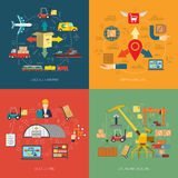 Logistic 4 flat icons square banner vector illustration