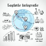 Logistic globe infographic Stock Photos