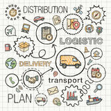 Logistic hand draw integrated color icons set Royalty Free Stock Photography