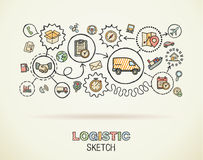 Logistic hand draw integrated icons Stock Photos