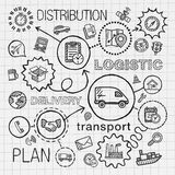 Logistic hand draw integrated icons set. Vector sketch. Infographic illustration with line connected doodle hatch pictograms on paper. distribution, shipping Royalty Free Stock Image