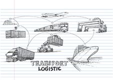 Logistic hand draw on lined notebook paper. Transportation concept Royalty Free Stock Photo
