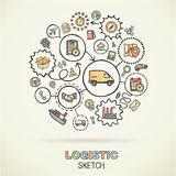 Logistic hand draw sketch icons Stock Image