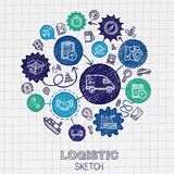 Logistic hand drawing hatch icons Royalty Free Stock Image