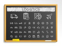 Logistic hand drawing line icons. chalk sketch sign illustration on blackboard Royalty Free Stock Photography
