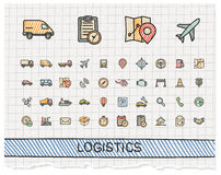 Logistic hand drawing line icons Royalty Free Stock Image