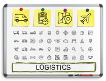 Logistic hand drawing line icons. Royalty Free Stock Photos