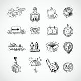 Logistic Hand Drawn Icons Set Stock Images