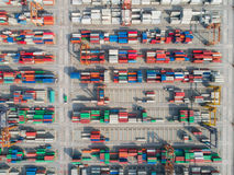 Logistic hub. Port for starage and transpotation the container box stock images