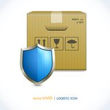 Logistic icon box and shield Stock Photos