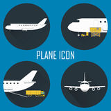 Logistic icon set for Web or Mobile aplication. Logistic icon set. Process of Delivery abstract goods by the plane. Flat Vector Illustration Royalty Free Stock Photo