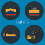 Logistic icon set for Web or Mobile aplication. Logistic icon set. Process of Delivery abstract goods by the ship to sea port. Flat Vector Illustration Stock Images