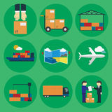 Logistic icon set for Web or Mobile aplication. Logistic icon set. Process of Delivery abstract goods the Warehouse, Aircraft, Marine Container transportation vector illustration
