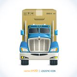 Logistic icon truck. Logistic shipping realistic heavy truck with carton box  isolated on white vector illustration Stock Images