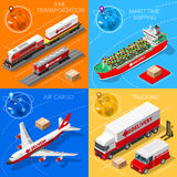 Logistic Icon 01 Vehicle Isometric. Logistic 3D icons set flat isometric transport truck maritime shipping ship air cargo plane and rail transportation realistic Royalty Free Stock Images