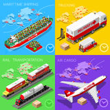 Logistic Icon 02 Vehicle Isometric. Logistic 3D icons set flat isometric transport truck maritime shipping ship air cargo plane and rail transportation realistic Stock Images