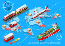Logistic Icon 03 Vehicle Isometric. Global Logistic Network 3D infographic and vehicle set flat isometric transport truck maritime shipping ship air cargo plane Stock Images