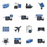 Logistic icons. 15 different logistic icons in blue and black Royalty Free Stock Images