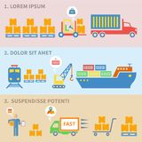 Logistic icons labels. Logistic freight service labels icons set of cargo ship train isolated vector illustration Royalty Free Stock Images