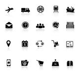 Logistic icons with reflect on white background Royalty Free Stock Photo