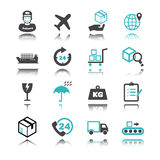 Logistic icons with reflection Stock Photos
