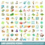 100 logistic icons set, cartoon style. 100 logistic icons set in cartoon style for any design vector illustration Stock Photo