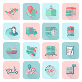 Logistic icons set flat Stock Photo
