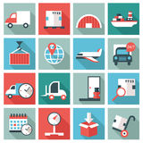 Logistic icons. Set of 16 Logistic icons. Flat design Stock Images