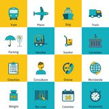Logistic icons set flat royalty free illustration