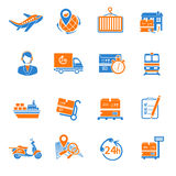 Logistic icons set orange Stock Photography