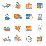 Logistic icons set orange. Logistic chain cargo global export shipping icons orange set isolated vector illustration Stock Photography