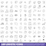 100 logistic icons set, outline style. 100 logistic icons set in outline style for any design vector illustration Royalty Free Illustration