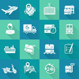 Logistic Icons Set White Stock Photography