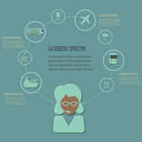 Logistic infographic flat icons set Royalty Free Stock Image