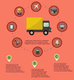 Logistic infographic flat icons set Royalty Free Stock Images