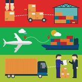 Logistic Infographics for Web or Mobile aplication. Logistic infographics Set. Process of Delivery abstract goods the Warehouse, Aircraft, Marine Container vector illustration
