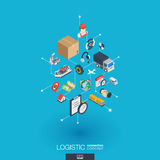Logistic integrated 3d web icons. Digital network isometric concept. Logistic integrated 3d web icons. Digital network isometric interact concept. Connected Stock Photo
