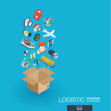 Logistic integrated 3d web icons. Growth and progress concept. Logistic integrated 3d web icons. Digital network isometric progress concept. Connected graphic Stock Image