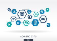 Logistic network. Hexagon abstract background. With lines, integrate flat icons. Connected symbols for delivery, service, shipping, distribution, transport vector illustration