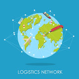 Logistic network isometric isllustration.Mini planet concept. Royalty Free Stock Images